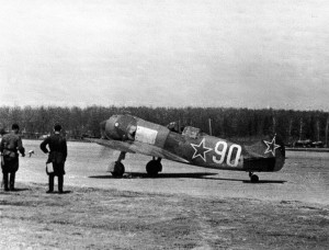 One of the premiere Soviet late-war fighter planes, the Lavochkin La-5, which served against the Nazis in the last months of World War II.  Photo Source:  Unknown Soviet Air Force Photographer