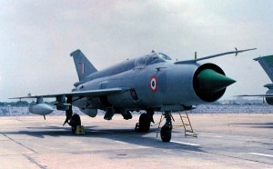 An Indian Air Force MiG-21 fighter interceptor.