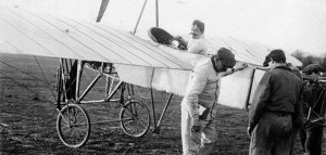 Adolphe Pégoud in a Blériot, probably at Buc.