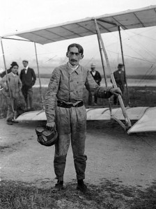 M. Legagneux posing with a Ferber Aeroplane two years earlier.