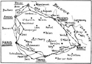 A sketch map of the route, reprinted in Flight during August 1910 from the French magazine, L'Auto.