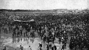 Latham's Antoinette amidst the crowds at Issy as the flyers prepare for the first leg to Troyes.  Source:  Flight, August 13, 1910