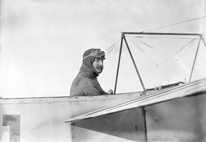 Julien Mamet in the cockpit of his aeroplane, ready to race.