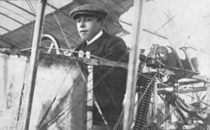Henri Brégi in the cockpit of his Voisin.