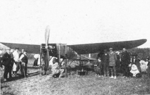 Mr. John B. Moisant's Bleriot at Tilmanstone, where he alighted after crossing the Channel with his mechanician Fileux.  Source:  Flight, August 27, 1910