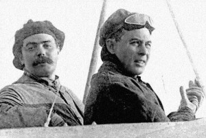 John B. Moisant and his mechanic, M. Fileux, with whom he arrived in England after a surprise crossing.