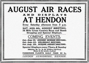 Advertising that ran in the magazine Aeroplane, in England, on August 5, 1914, exactly 100 years ago today.  The ad had been placed prior to the beginning of World War I.  As it happened, the advertised cross country competitions were cancelled.