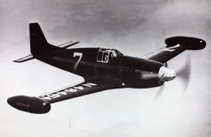 "Bill Odom's racing plane, a highly-modified P-51C Mustang christened, ""The Beguine"", as it flew in the 1949 races.  Source:  San Diego Air and Space Museum Archive"