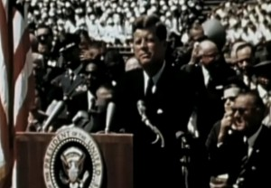 President Kennedy at Rice making his famous speech.  Image Credit:  John F. Kennedy Presidential Library and Museum