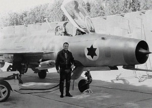 Israeli test pilot Col. Danny Shapira standing before the Iraqi MiG-21 that was brought to Israel as part of an elaborate Mossad intelligence operation.  Remarked with IAF roundels, the MiG was extensively flight tested.  Photo Credit:  IAF