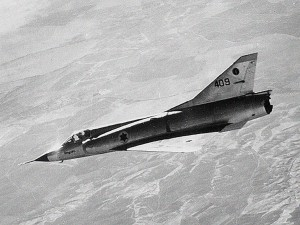 An IAF Mirage IIICJ with the 101 Squadron flying over central Israel, c. 1965.  Photo Credit:  IAF