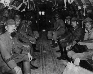 The Japanese delegation on board the Douglas C-54 transport plane.  Photo Credit:  Maritime Quest, part of the John W. Parmer Collection