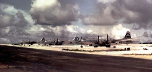 Parked on Tinian Island, three of the 509th Composite Group's B-29 Superfortress aircraft, immediately before their bombing mission to drop the atomic bomb on Hiroshima. Left to right: Back-up plane, The Great Artiste, Enola Gay. Photo Credit:  Harold Agnew