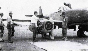 The first prototype Nakajima Kikka being readied for its first test flight in the first week of August 1945 at Kisarazu Air Field.  Photographer Unknown.