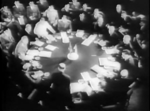 Allied powers meet to discuss and agree on the Pottsdam Agreement (vis-a-vis Germany) and the Potsdam Declaration, regarding Japan's surrender.  Photo Credit:  National Archives, ARC 39075, LI 208-UN-168
