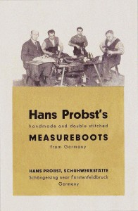 A flyer from the Hans Probst Measureboots Company, c. 1965