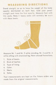 Measuring Instructions Sheet from the Hans Probst Measureboots Company.