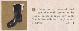 "Detail from the entry for ""Flying Boots"", the first item featured on the company brochure."