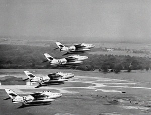 F-84Fs from the 7108th Tactical Fighter Wing over Chaumont Air Base, France, in 1962.  Source:  US Air National Guard
