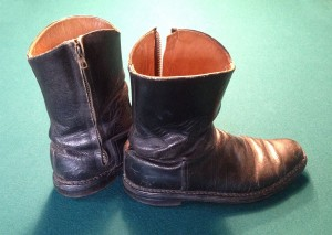 An actual pair of handmade Hans Probst Measureboots, formerly used in flying fighter missions in USAFE during the early and mid-1960s.  Note the inside zipper and lack of laces.