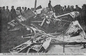 The wreckage of Immelmann's Fokker Eindecker E.III.