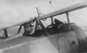 Oskar Bider, the famous Swiss pilot who came to meet with the German pilots soon after their landing; shown here in the cockpit of one of the Nieuports acquired a couple of years later by the Swiss Air Force.