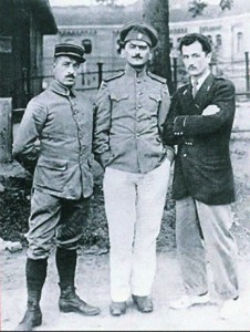 Garros, at right, and Marchal, at left, during their captivity at Magdeburg.