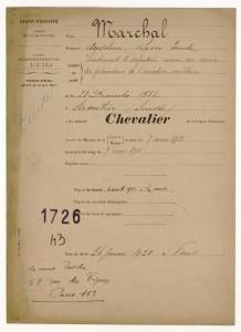 Citation for the Légion d'Honneur.  Source:  Archives Nationales de la France
