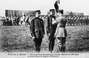 Lt. Marchal receives the Légion d'Honneur with Garros, at left; both awarded together for their exploits. Source:  Contemporary Postcard in France