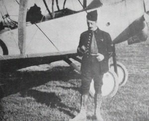 An extremely rare photo of Lt. Marchal just before his mission, standing before his Nieuport.