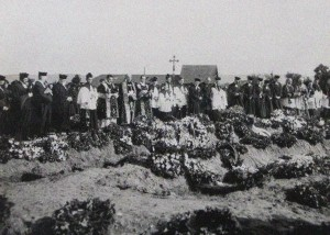 Burial of the child victims of the attack on Karlsruhe, Germany, which took place just days after Lt. Marchal's flight.