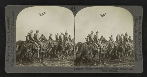 """Scouts, old and new, French cavalry and army airplanes."" Gelatin silver print, mount 9 x 18 cm, taken between 1914 and 1918, published in 1923."