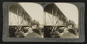 """""""Bridgnet Michelin bombarding airplane ready to ascend, France.""""  Gelatin silver print, mount 9 x 18 cm, taken between 1914 and 1918, published in 1923."""
