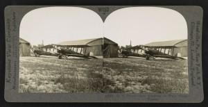 """U.S. observation airplane on west front, France.""  Gelatin silver print, mount 9 x 18 cm, taken between 1914 and 1918, published in 1923."