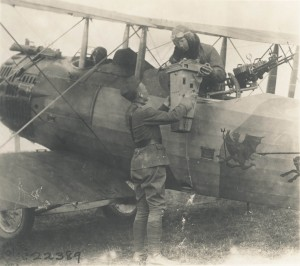 AEF Aerial Photography in 1918, using an early camera system, which the observer simply held over the side of the fuselage to get the image.