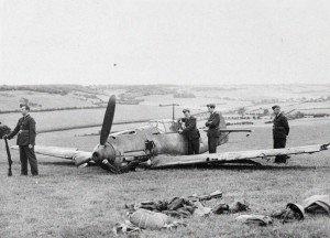 Messerschmitt Bf 109 shot down during the Battle of Britain by No. 74 Squadron pilot, Sergeant E. A. (Boy) Mould.  The plane was damaged and made a forced landing in Dover.  The German pilot, Leutnant Johann Boehm, of 4./JG51, was injured and survived.  He was captured and survived the war.