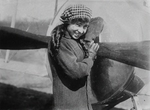 "Dressed as the ""Flying Schoolgirl"", Katherine Stinson's showmanship on display."