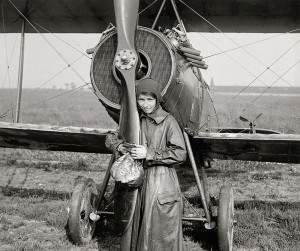 A final photo of Katherine Simpson before she ended her flying career -- on June 1, 1918, just home from the war, she had just flown her plane from Chicago to Sheepshead Bay Speedway, Brooklyn, New York.