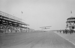 Katherine Stinson wins the race against Dario Resta, at Sheepshead Bay racetrack, Brooklyn, New York City on May 13, 1916.  Photo Credit:  Library of Congress