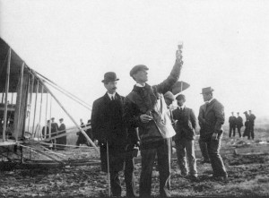 Orville Wright, at left with his cane and still recovering from his crash in Virginia, with Wilbur in France in 1909.
