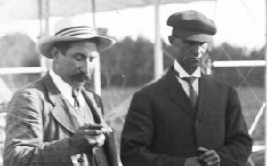 Hart O. Berg, the Wrights' business agent in France, at left, with Wilbur Right, at right, during the flying at Le Mans on September 12, 1908.  Source:  Bibliothèque nationale de France