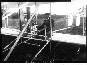 Wilbur Wrights at the controls of his airplane, at Le Mans, France, on August 11, 1908.  Source:  Bibliothèque nationale de France