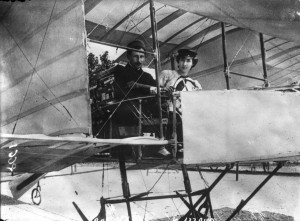 Thérèse Peltier, one of the world's first women to fly (as a passenger) with Léon Delagrange in his biplane, on July 8, 1908, in Milan, Italy.  Source:  Bibliothèque nationale de France