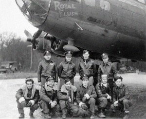 """Royal Flush"" was usually flown by another crew -- Flanigan's crew -- shown here with the plane."