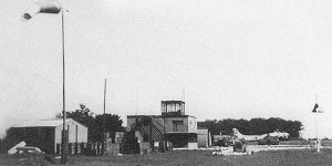 The control tower and flight line at Thorpe Abbotts Airfield in 1945.  Photo Credit:  USAAF