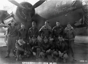 "Robert ""Rosie"" Rosenthal's original 418th Bomb Squadron crew most of whom flew that day to Münster.  Standing, from Left to Right: Loren F. Darling (Waist Gunner), Michael V. Boccuzzi (Radio Operator), James F. Mack (Waist Gunner), C.C. Hall, William J. DeBlasio (Tail Gunner), and Ray H. Robinson (Waist Gunner). At front, kneeling: Ronald C. Bailey (Navigator), Robert ""Rosie"" Rosenthal (Pilot), C. J. Milborn, Winifred T. ""Pappy"" Lewis (Copilot).  Source:  100th Bomb Group Photo Archives"