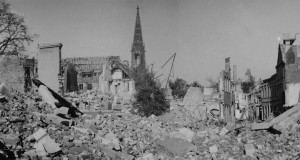 The rubble strewn streets of the city of Münster, Germany, as seen in April 1945.  Photo Credit:  Paulheinz Wantzen, Kriegsende 1945