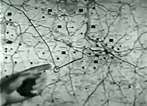 "Actual briefing map with the ""Initial Point"" circled on the run in to the city, shown at center right.  Source:  ""Flak"", a USAAF training film from 1944"