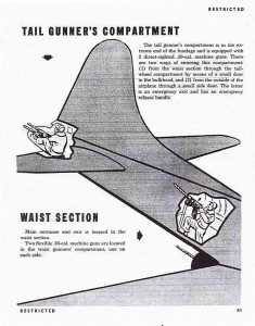 Page from a USAAF training manual for B-17 gunners during 1943/1944, showing the position of the tail gunner and waist gunner on the B-17 Flying Fortress.