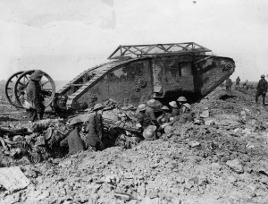 A British Mk 1 Tank at the Battle of the Somme, September 1916.
